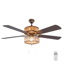 "52""W  Silver Geometric Diamond Shaped Double-Layered Clear K-9 Crystal Ceiling Fan w/ Remote Control"