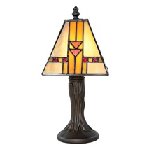 "11""H Stained Glass Mini Mission Accent Lamp"