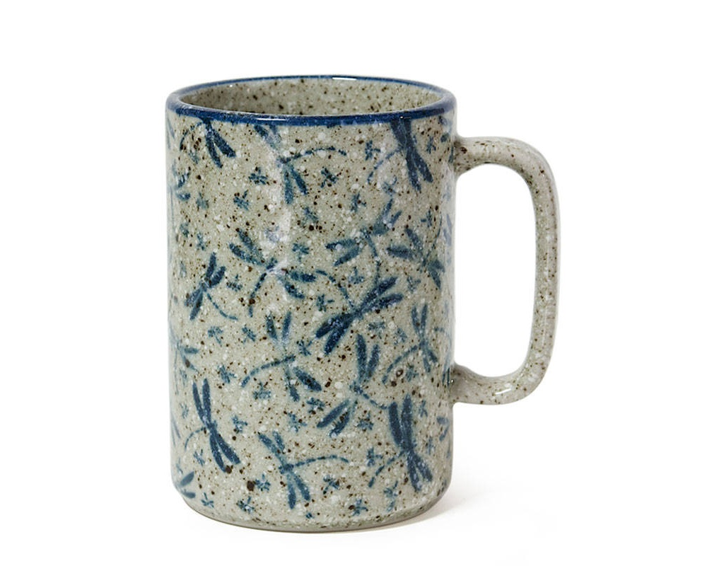 Dragonfly pottery mug with embossed dragonflies
