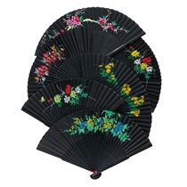 Assorted Silk Fans - Black