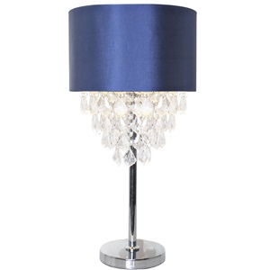 "25.75""H Tiered Crystal & Chrome Table Lamp"