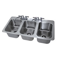 Advance Tabco DI-3-10-1X Stainless Steel 3 Compartment Drop-In Sink