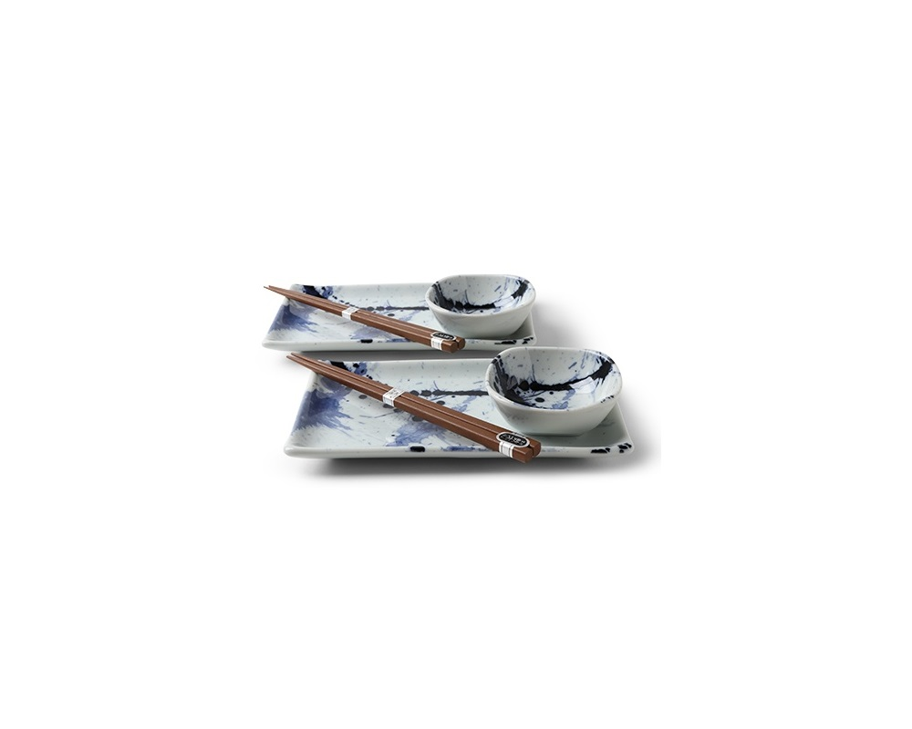 Miya Japan Blue and White Snow Sushi Set for 2 with Plates Sauce Dishes and Chopsticks