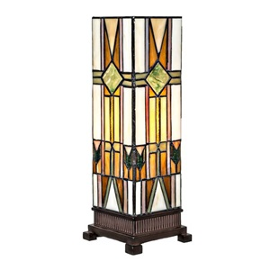 "14""H Stained Glass Mission Style Hurricane Accent Lamp"