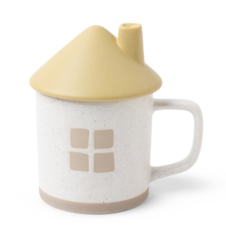 Mug with Lid House Yellow Roof