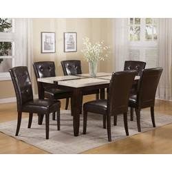 16550 WH/BK FAUX MARBLE DINING TABLE