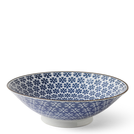"BLUE & WHITE SNOWFLAKE 9.75"" BOWL"