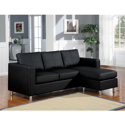 15065 BLACK PU REV. CHAISE SECTIONAL