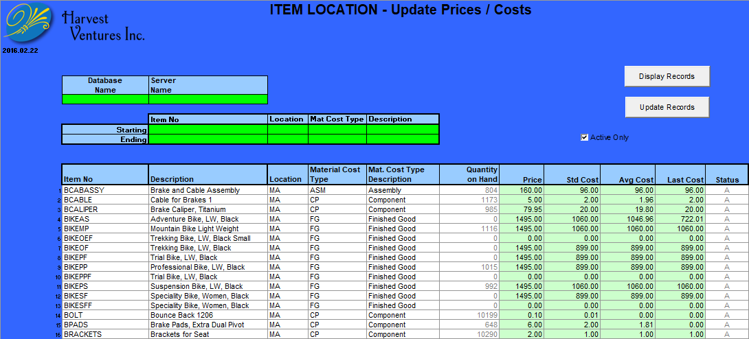 item location price cost update screen capture