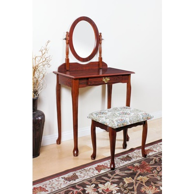 02337CHERRY WOOD VENEER VANITY SET/CHERRY
