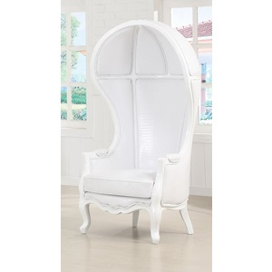59115 WHITE PU HOODED ACCENT CHAIR