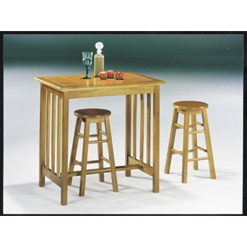 02140OT 3PC BREAKFAST SET OAK/TER TILE
