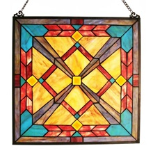 "18""H Tiffany Style Stained Glass Southwest Sunset Window Panel"