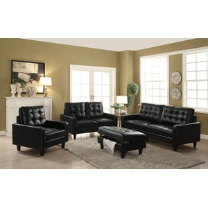 50265 BLACK LEATHER GEL SOFA