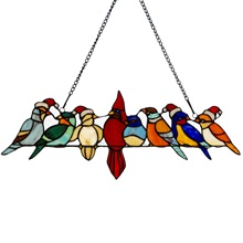 "23.25""W Santa Birds on Wire Stained Glass Window Panel"