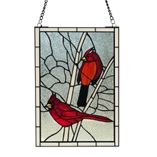"30.25""H Northern Cardinal Songbird Stained Glass Window Panel"