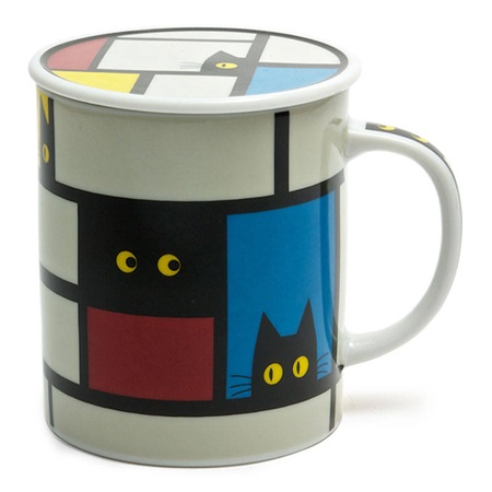 Cubist Cat 8 Oz. Lidded Mug - Gray
