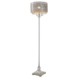 "60.5""H Brielle Polished Nickel and Crystal 1-Light Floor Lamp"