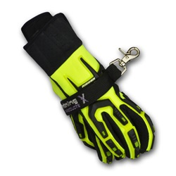 Value Nylon Webbing Strap for Structural Fire Gloves; Velcro w/ Snap Hook BLACK w/ Black Hardware