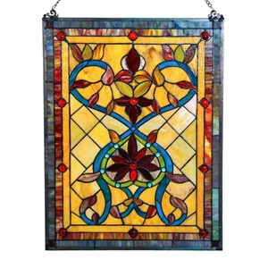 "24""H Tiffany Style Firey Hearts and Flowers Panel"