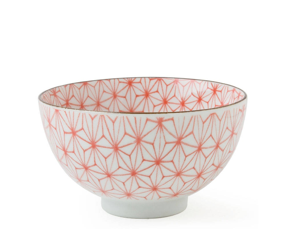 "Asanoha Colors 4.5"" Rice Bowl - Red"