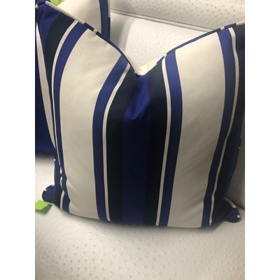 Blue, Black and White Striped Down Pillow