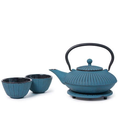 Blue Stripes Cast Iron Tea Set