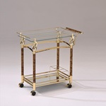 98002 GOLD SERVING CART W/CLR GLAS