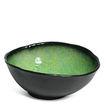 "ARIAKE GREEN 9.5"" X 8"" OVAL SERVING BOWL"