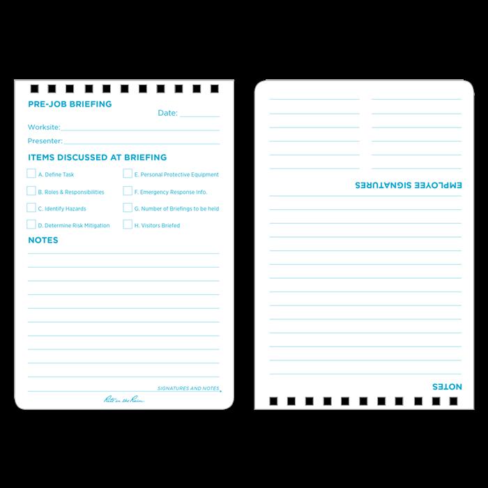 Rite In The Rain 1547 Top Spiral Worksite Notebook Job Hazard