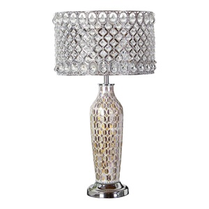 "25""H Pearl Mosaic and Crystal Glass Table Lamp"