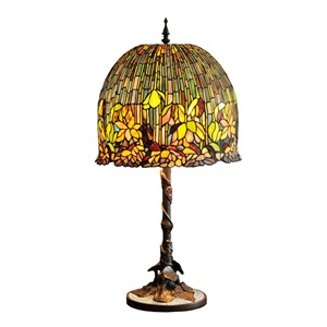 "28""H Tiffany Style Flowering Lotus Stained Glass Mosaic 3-Light Table Lamp"