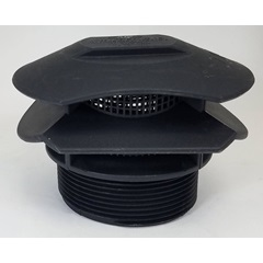 "Side 3 - 3"" Vent With Screen Tank Fitting - Polypropylene"