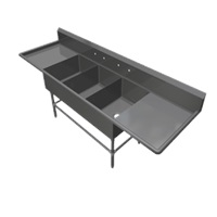 John Boos 3PB24-2D24 3-Compartment Sink