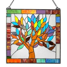 "18""H Tiffany Style Stained Glass Mystical World Tree Window Panel"