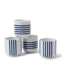 BLUE STRIPES 8 OZ. TEACUP SET/4