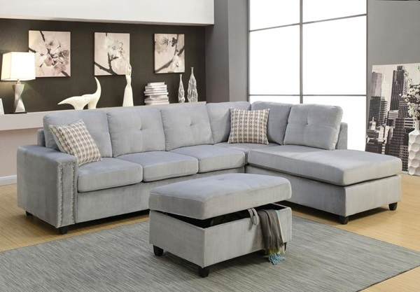 Acme Furniture 52710 Belville Gray Sectional Sofa
