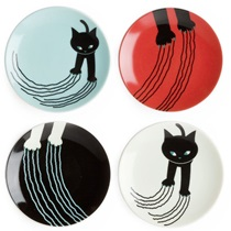 "Naughty Cat 3.5"" Mini Plate Set"