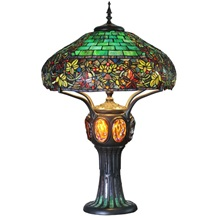 "34""H Tiffany Style Stained Glass Turtleback and Mosaic Hampstead Table Lamp"