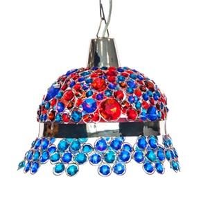 "11.8""H Jeweled Bonnet Hanging Lamp"