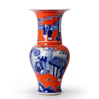 Blue and Orange Baluster Vase