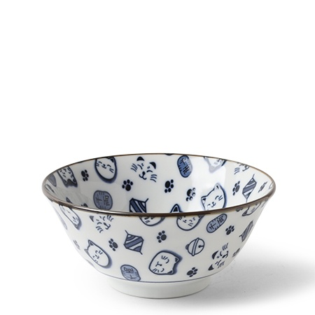 "Maneki Neko Blue 5.75"" Bowl"