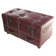 "32""H Wide Faux Leather Trunk"