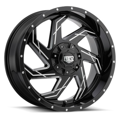 REV 20X12 MILLED GLOSS BLK