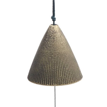 Wind Chime Cone Gold Ribbed 2""