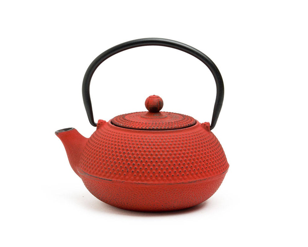 Red Hobnail Cast Iron Teapot - 20 Oz.