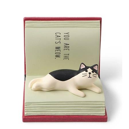 Figurine Cat Open Book Phone Stand
