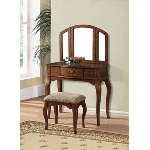 90094 OAK FINISH VANITY AND STOOL