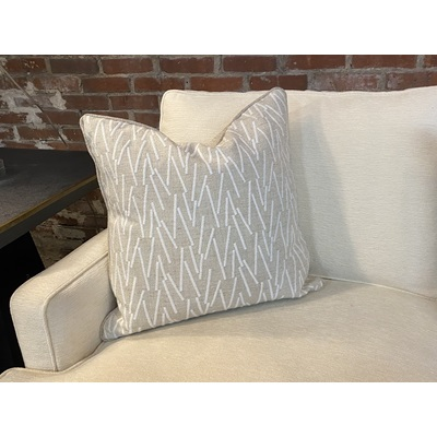 Light Taupe Linen w/ White Embroidered Stick Pattern Down Pillow