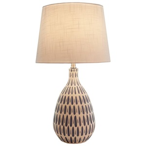 "24.5""H White Linen Table Lamp with Ceramic Blue and White Base"